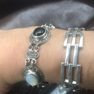 Antique Sterling silver925 black ones and pearl